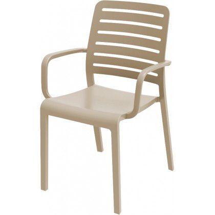 Elegantní subtilní plastová židle s područkami, cappuccino