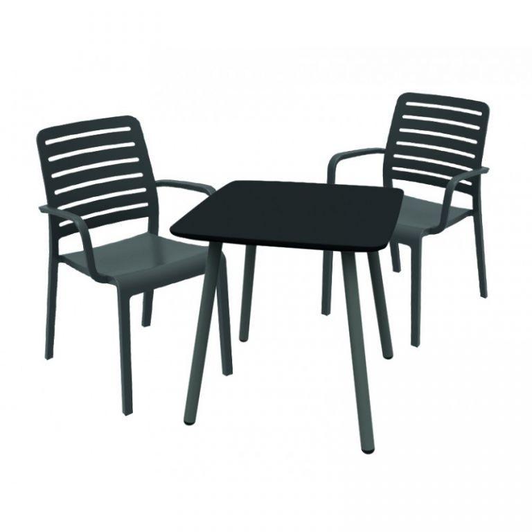 Elegantní subtilní plastová židle s područkami, šedá