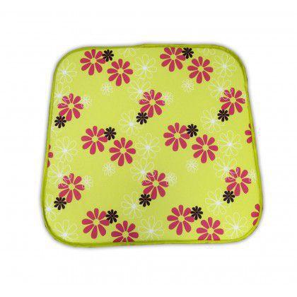 Polstrování / sedák na židli, zelené + potisk květů