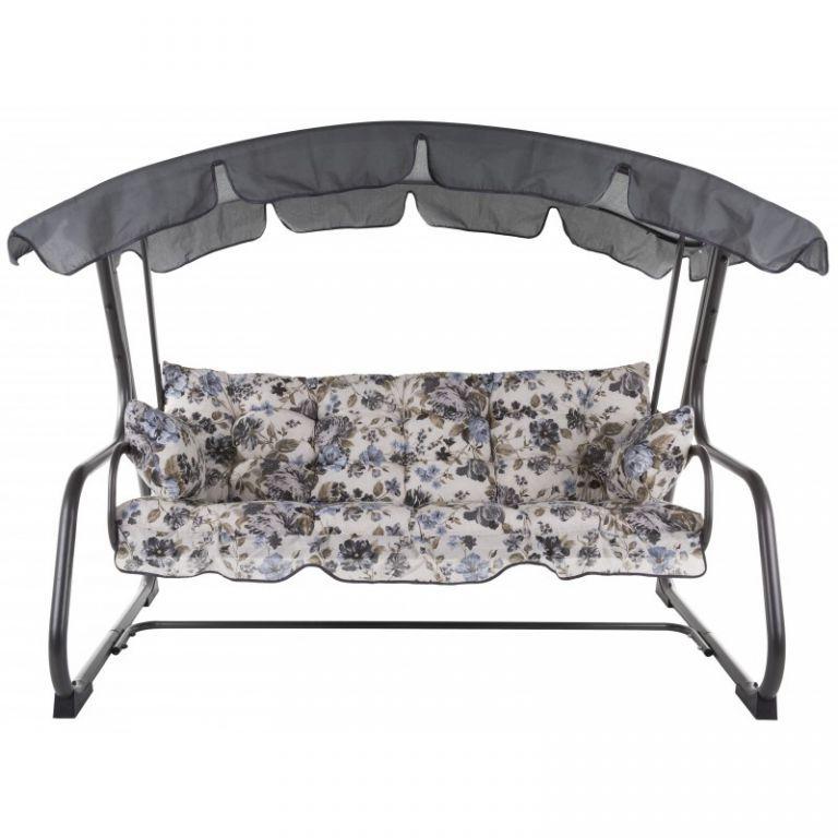 Luxusní zahradní kovová houpačka pro 4 osoby, rozkládací, motiv květů