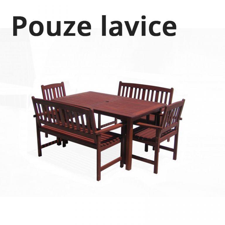 Dřevěná zahradní lavice z masivu 120 cm, tvrdé dřevo MERANTI