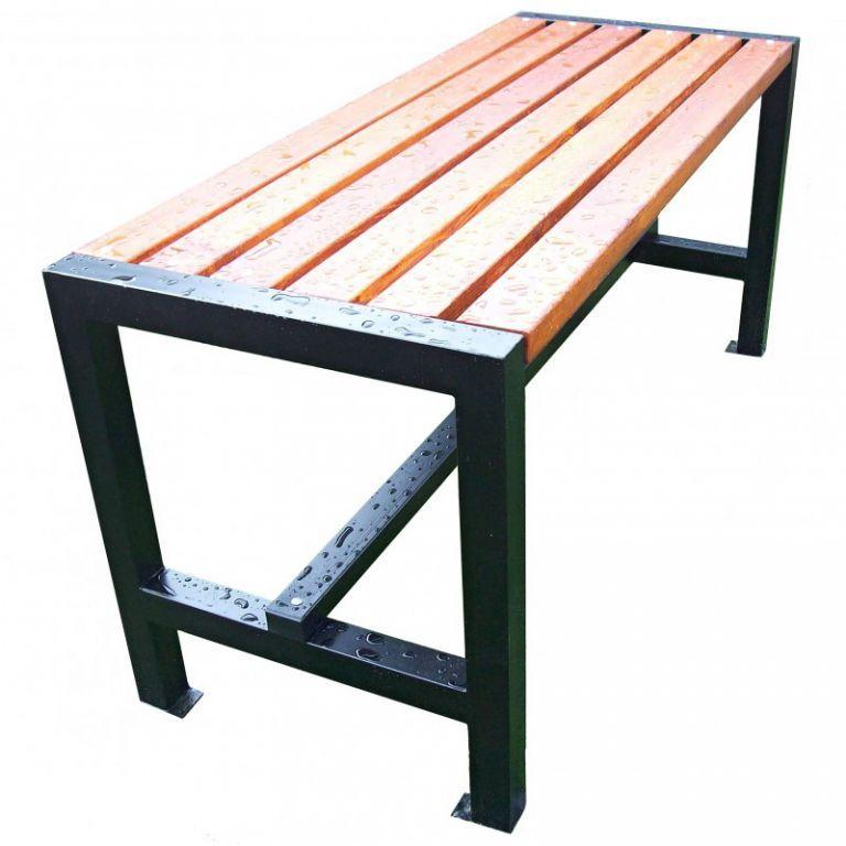 Venkovní stůl s patkami k přišroubování, kov / dřevo