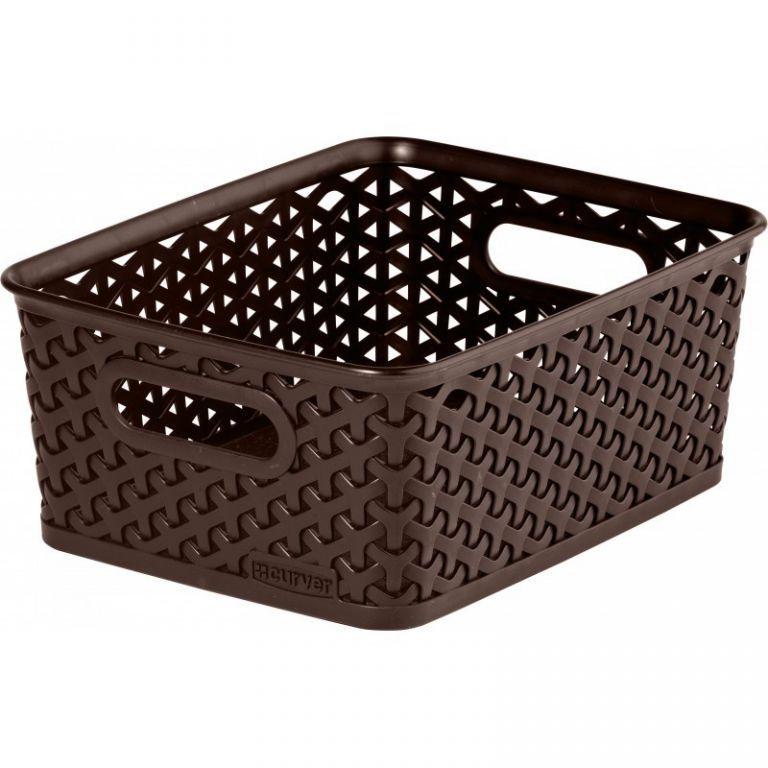 Plastový box bez víka na drobnosti, malý, tmavě hnědý