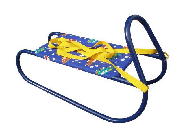 Dětské kovové sáňky s textilním sedlem, modré