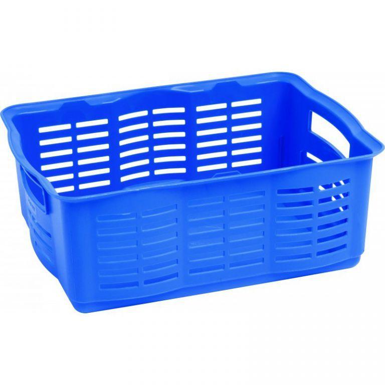 Plastová přepravka na menší předměty, bez víka, velká, modrá