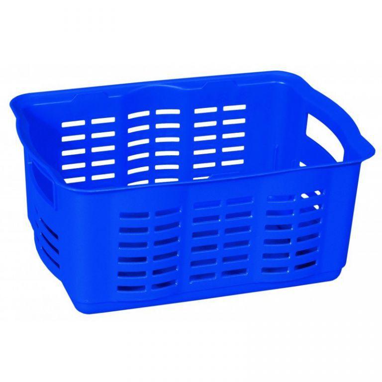 Plastová přepravka na menší předměty, bez víka, středně velká, modrá