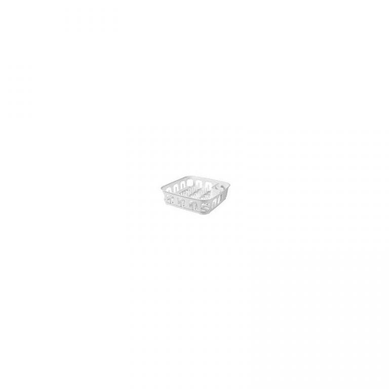 Kuchyňský odkapávač na nádobí čtvercový, plast, bílý