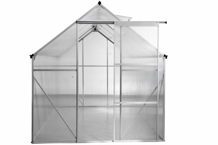 Polykarbonátový skleník, ALU rám, automatické otevírání oken, 250x190x195 cm