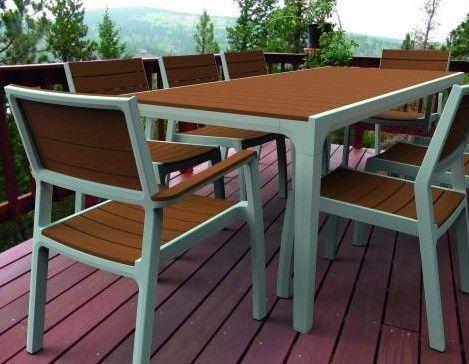 Plastová zahradní židle s područkami, imitace dřeva