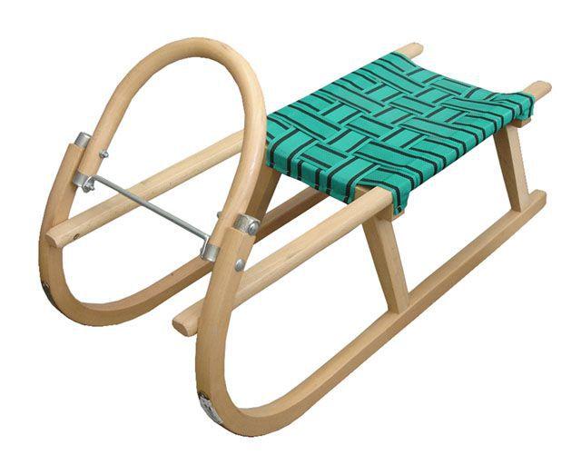 Dětské dřevěné sáňky s kovovými lyžinami 95 cm, textilní sedlo - zelené