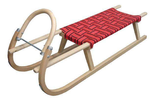 Dětské dřevěné sáňky s kovovými lyžinami 125 cm, textilní sedlo - červené