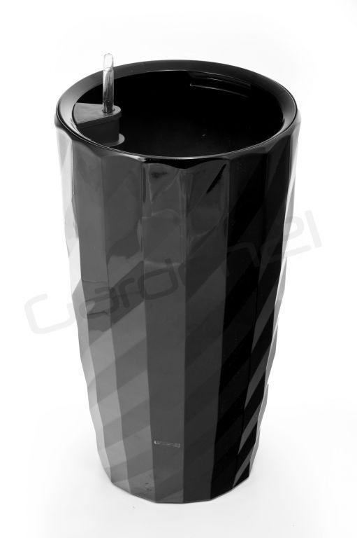Vysoký okrasný květináč samozavlažovací, 57 cm, černý