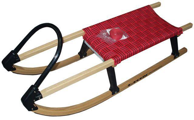 Dětské saně 110 cm s textilním sedlem, dřevo / plast