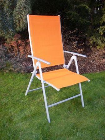 Zahradní hliníkové křeslo s textilním potahem, oranžové
