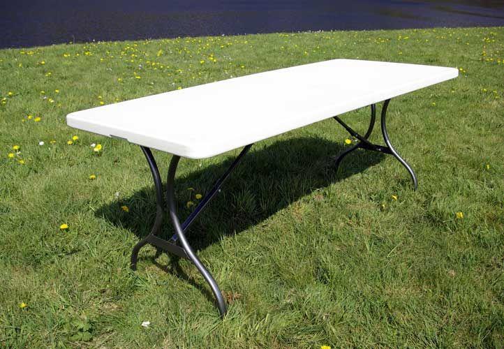 Zahradní obdélníkový stůl skládací, bílý, kov / plast