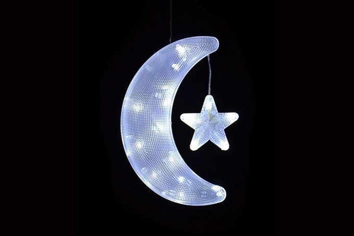 Vánoční dekorace do okna - svítící měsíc s hvězdou 19 cm, na baterie