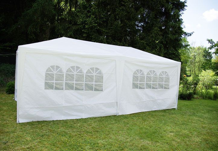 Obdélníkový párty stan / altán 3x6 m, 6 bočních stěn, bílý