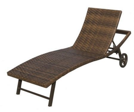 Luxusní ratanové lehátko k bazénu, s kolečky, hnědé