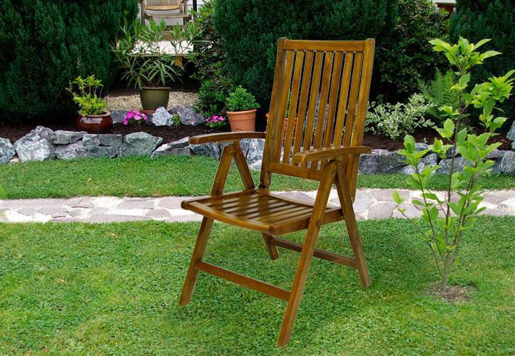 2 ks dřevěná skládací židle, akátové dřevo, tmavě hnědá