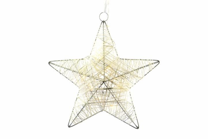 Dekorativní svítící vánoční hvězda vnitřní, na baterie, 25 cm