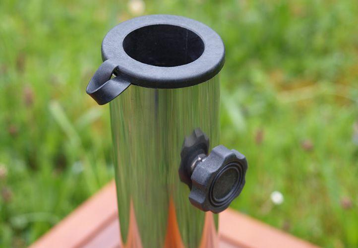 Stojan pro slunečníky do 4 m, čtvercový, žula / dřevěné obložení, 40 kg