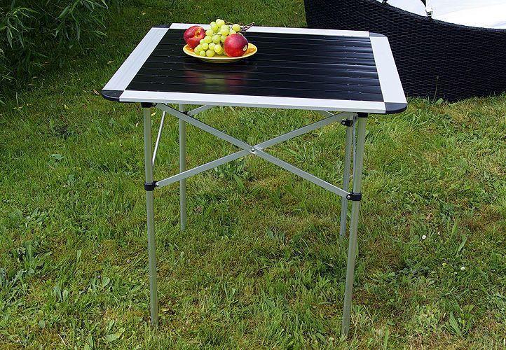 Venkovní skládací stůl čtvercový, hliník, černá / stříbrná