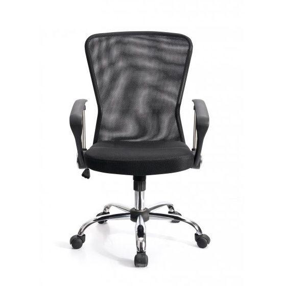 Elegantní židle na kolečkách s prodyšným opěradlem, černá / chrom