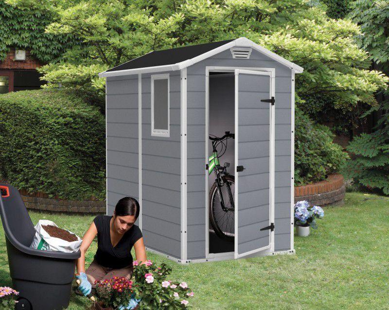 Zahradní domek plastový, 130x192x198cm, šedobílý