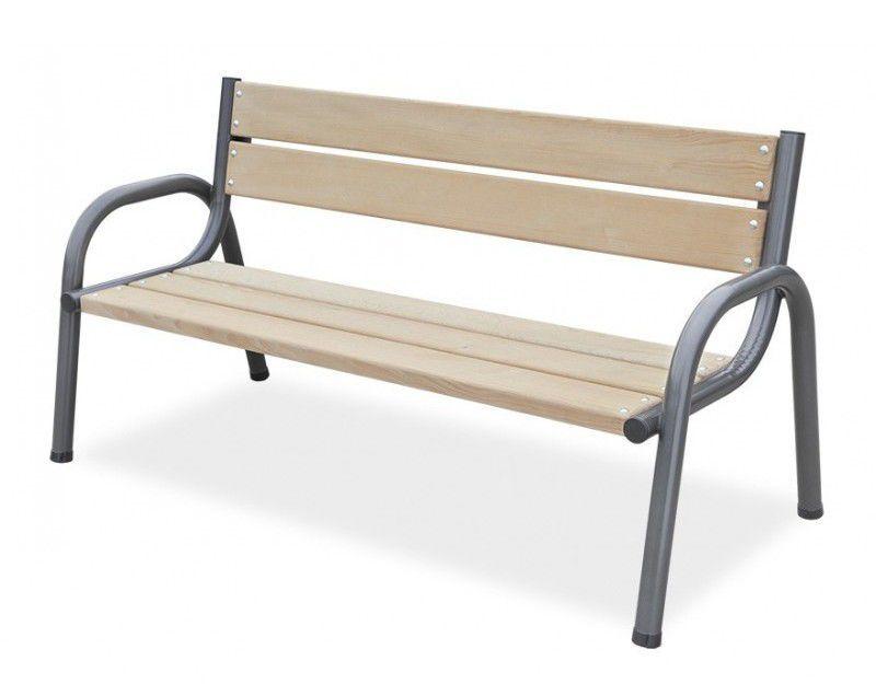 Rubustní venkovní lavice, kov / impregnované dřevo