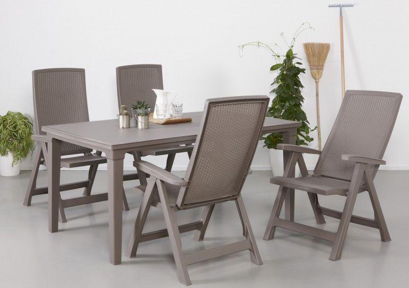 Venkovní stůl plastový, obdélníkový, odnímatelné nohy, cappuccino