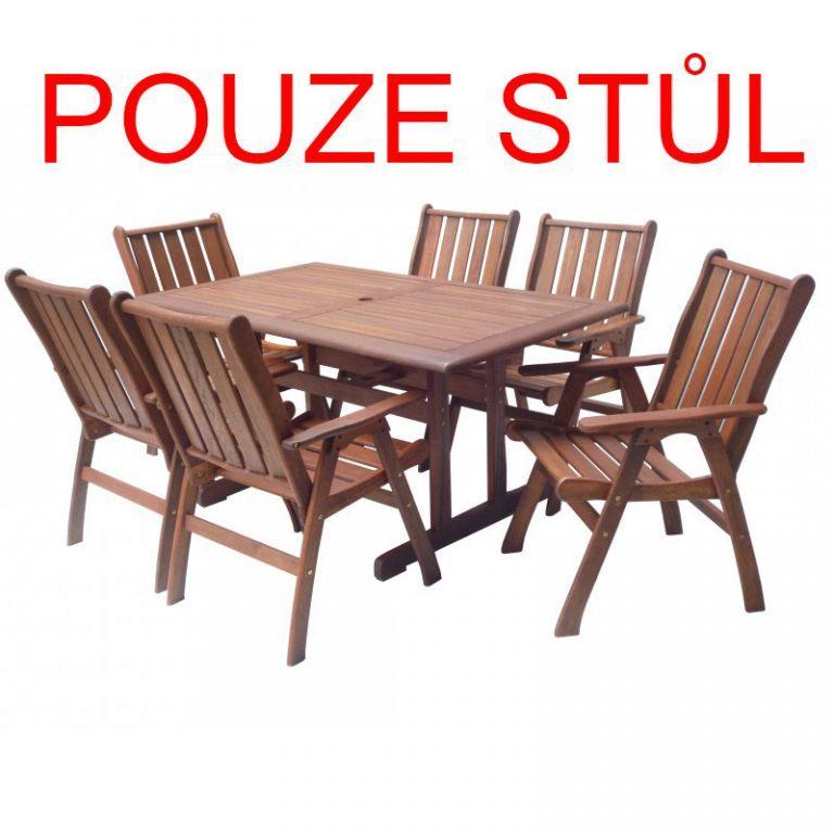 Dřevěný zahradní stůl z masivu 150 cm, tvrdé dřevo Meranti