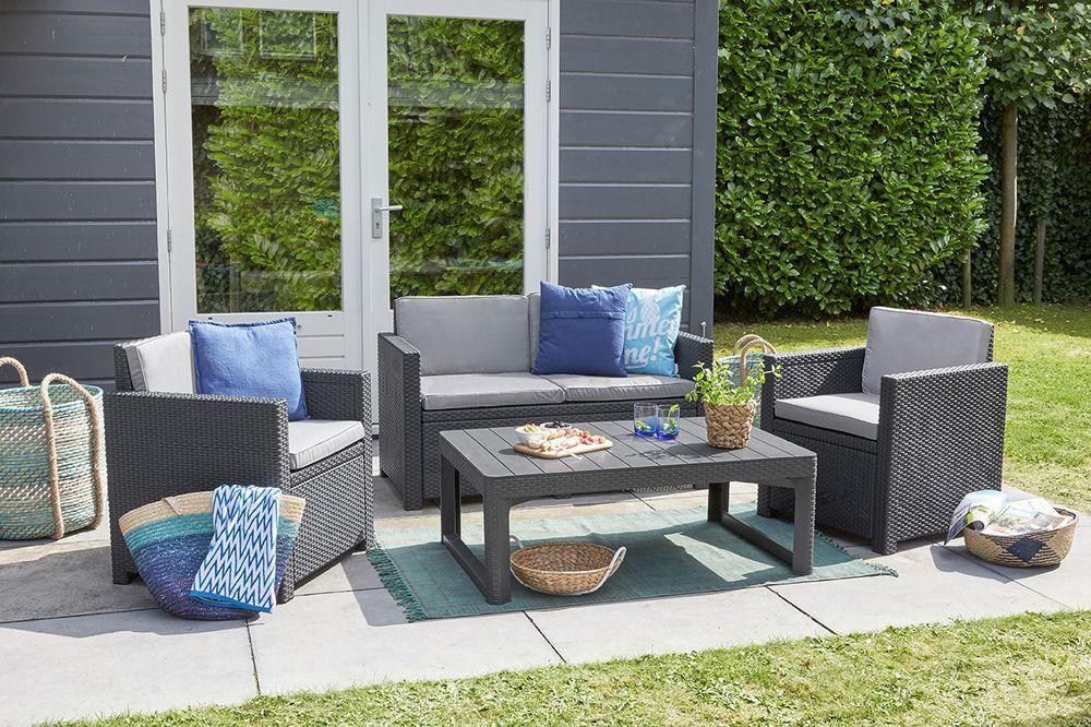 Zahradní plastový stůl s nastavitelnou výškou, ratanový vzhled, grafit