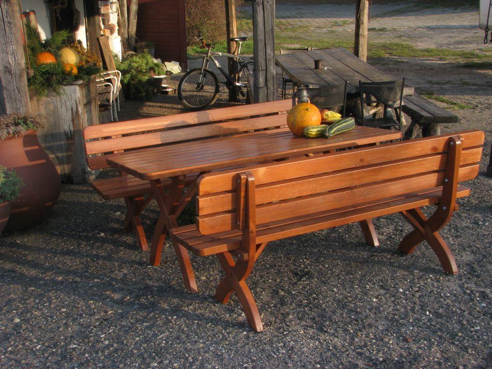 Venkovní masivní lavice 160 cm, borovice- tm. hnědá