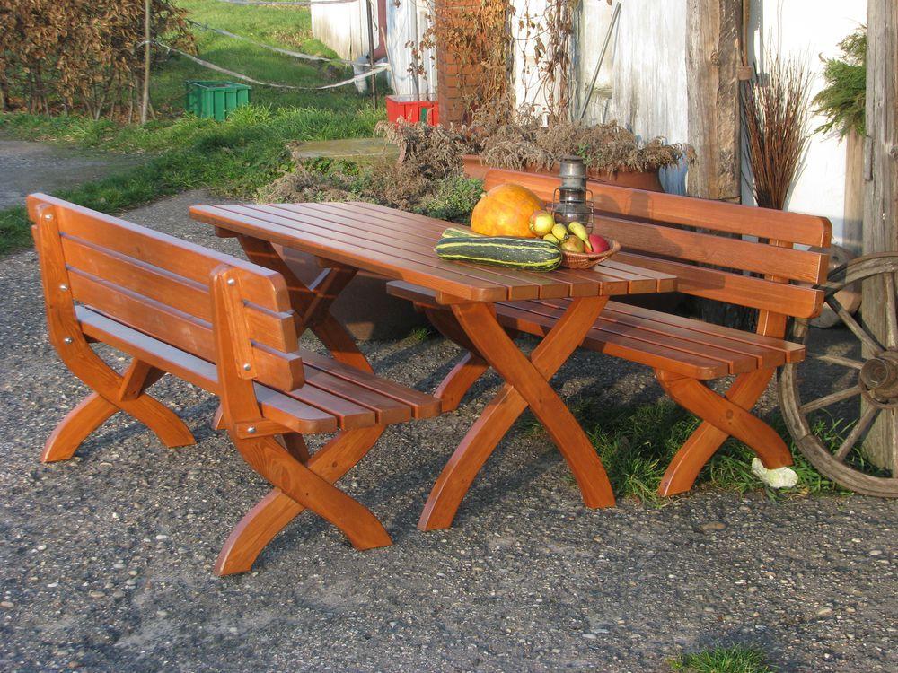 Venkovní masivní stůl 160 cm, borovice- tm. hnědá