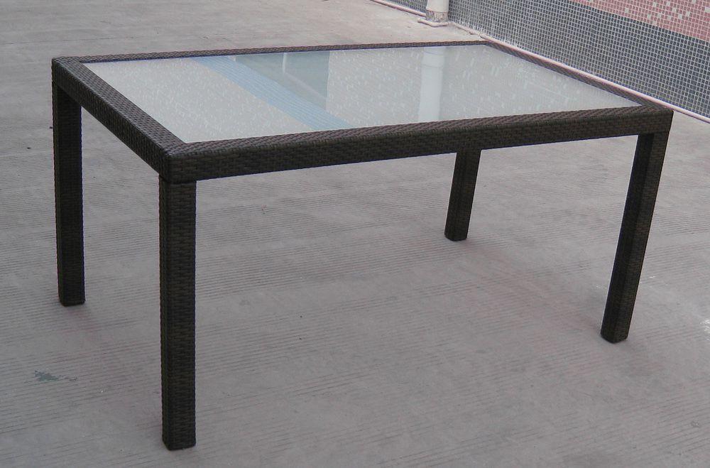 Venkovní stůl se skleněnou deskou, obdélníkový, ratanový vzhled