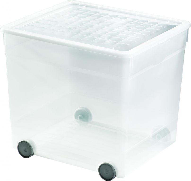Plastový box na kolečkách 33 l, s víkem, průhledný