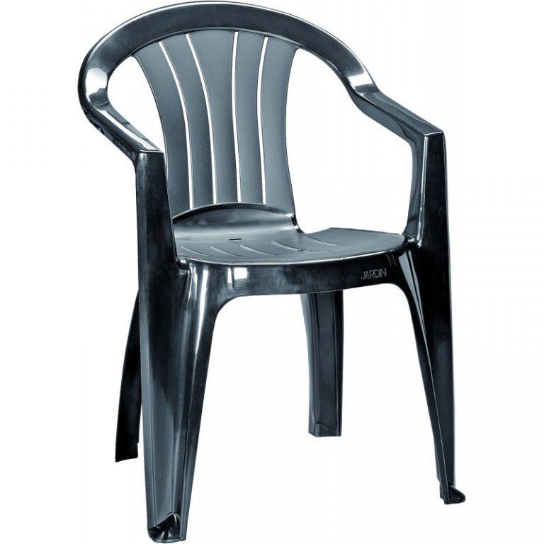 Plastová zahradní židle, klasický vzhled, grafit