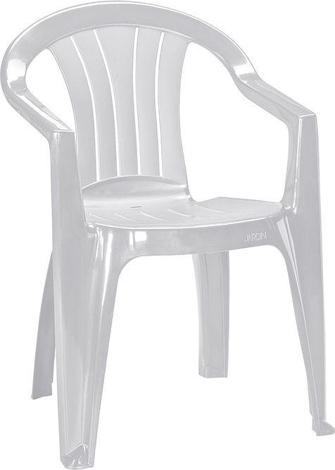 Plastová zahradní židle, klasický vzhled, lesklá bílá
