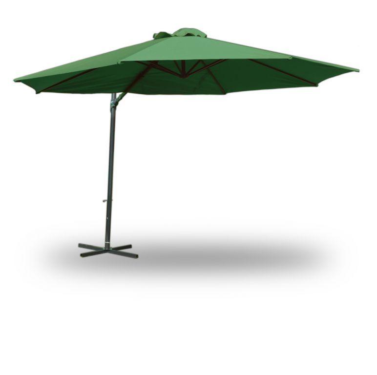 Velký zahradní slunečník 3,5 m s boční nohou, vč. stojanu, zelený