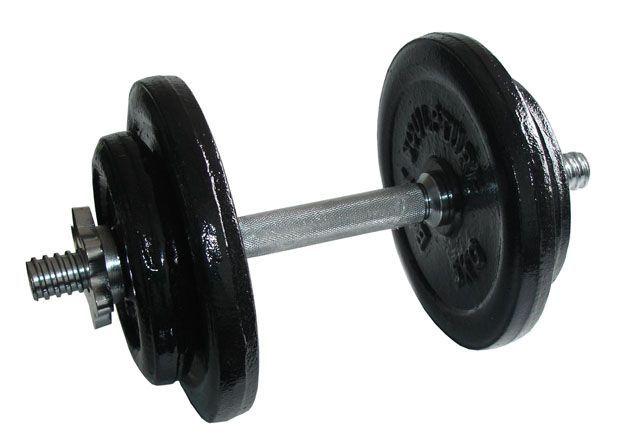 Kovová nakládací jednoruční činka, černé kotouče, 17 kg