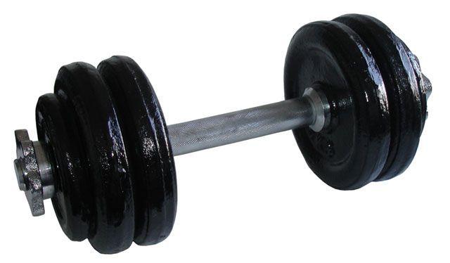 Kovová nakládací jednoruční činka, černé kotouče, 14 kg