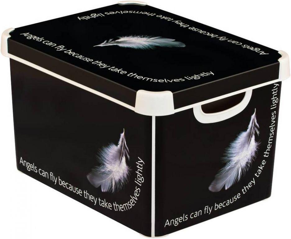 Ozdobný úložný plastový box s víkem, vel. L, černý / potisk