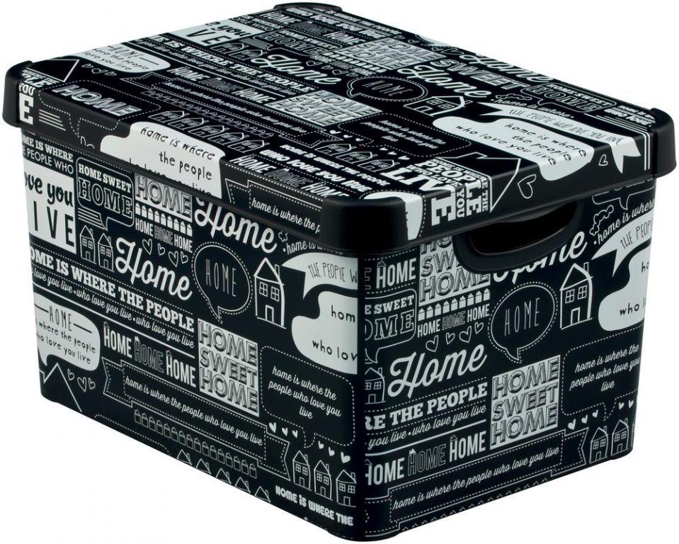 Ozdobný úložný plastový box s víkem, vel. L, černý / popisky