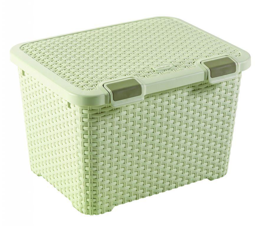Velký úložný plastový box s uzaviratelným víkem 43 l, krémový