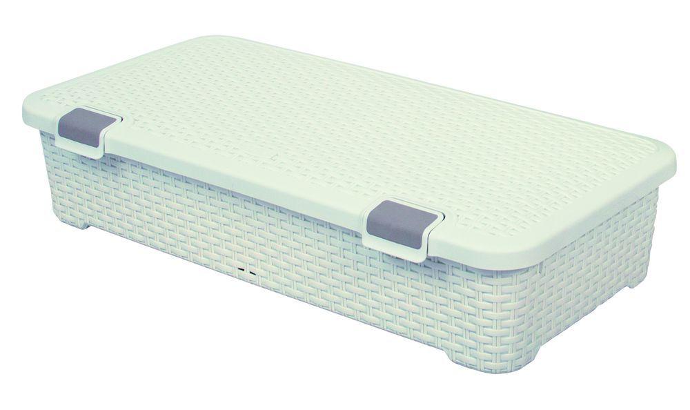 Nízký úložný plastový box na kolečkách, ratanový vzhled, 42 l, krémový