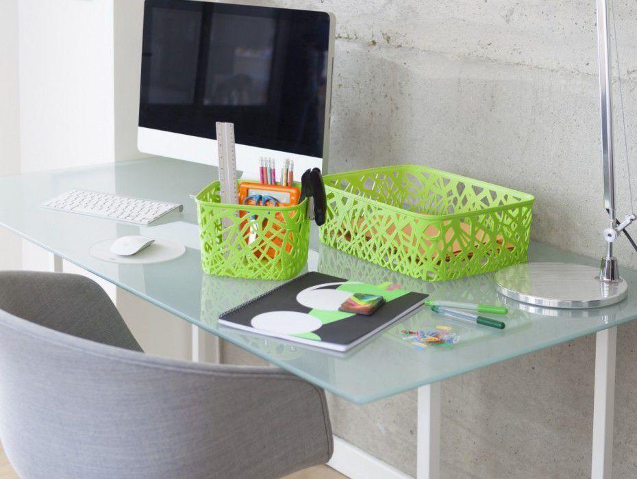 Ozdobný plastový košík na drobnosti, velikost A4, zelený