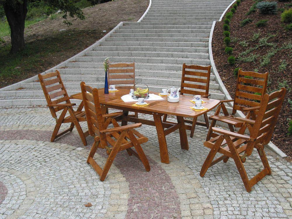 Dřevěný stůl na zahradu rozkládací, 150-210cm, lakovaná borovice