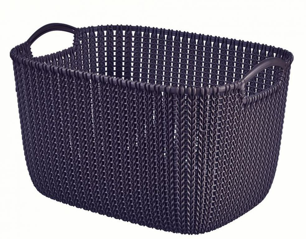 Okrasný plastový košík pro uložení drobností 19 l, fialový
