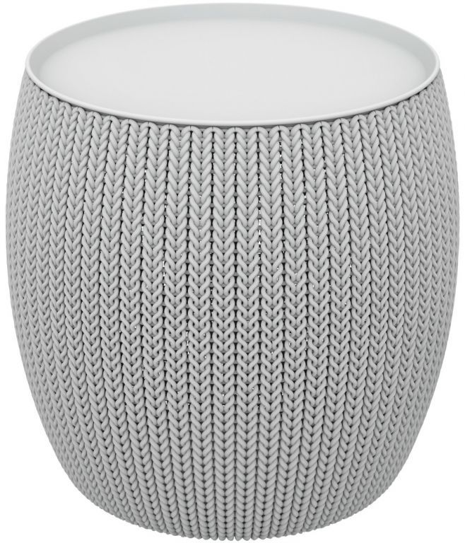 Menší designový plastový stolek, vzor pletení, šedý