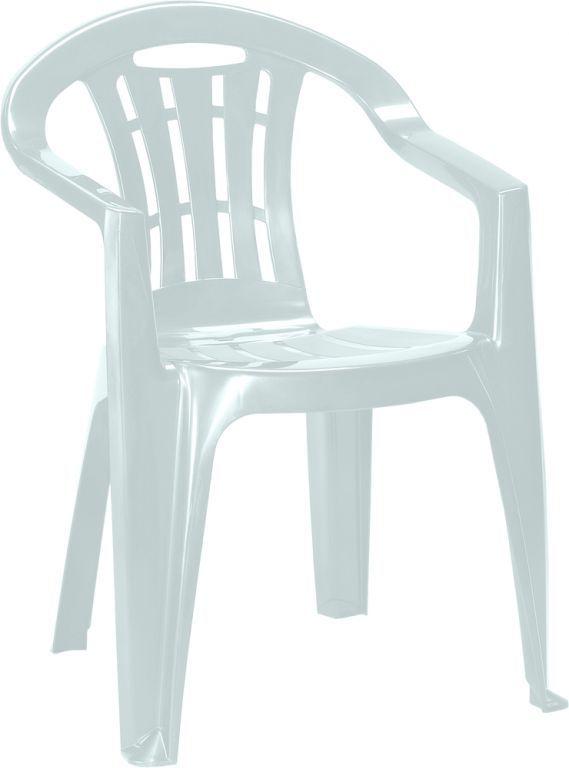 Levná plastová židle na zahradu / terasu, lesklá, světle šedá